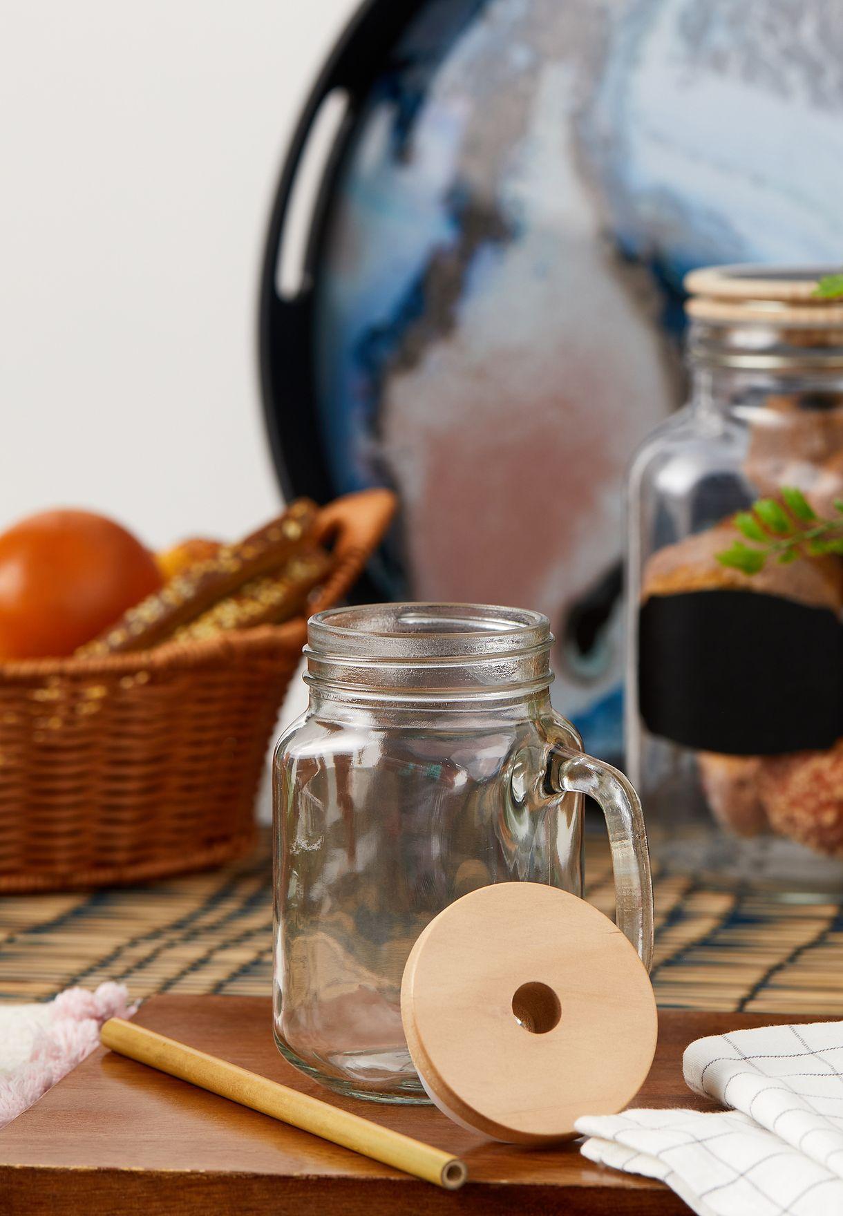 Glass Mason Jar & Bamboo Straw