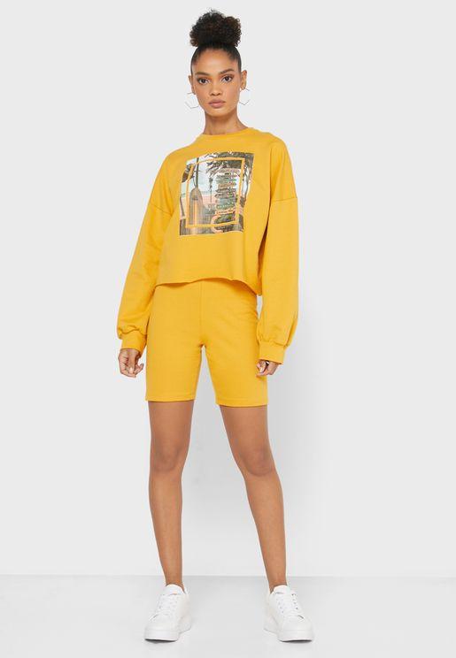Photographic Sweater Shorts Set