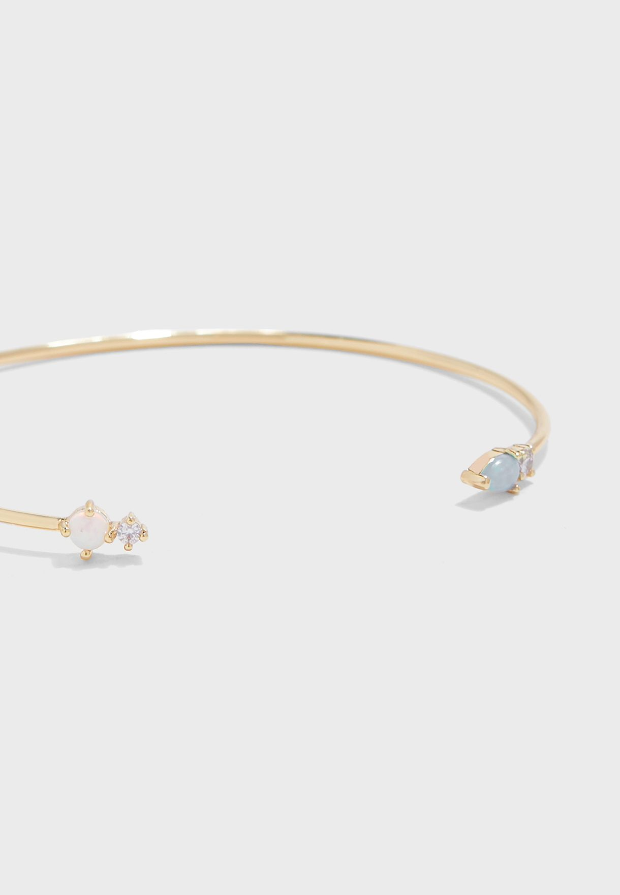 Tiny Opal & Stone Open Bangle