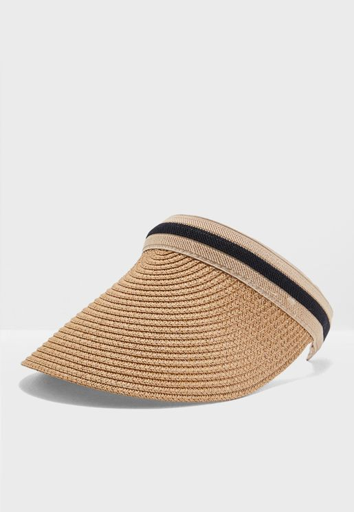 Straw Visor With Striped Band
