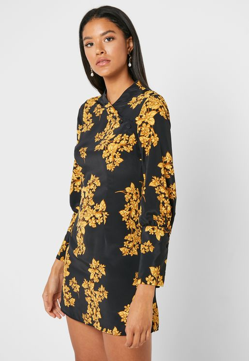 Oriental Bloom Mini Dress