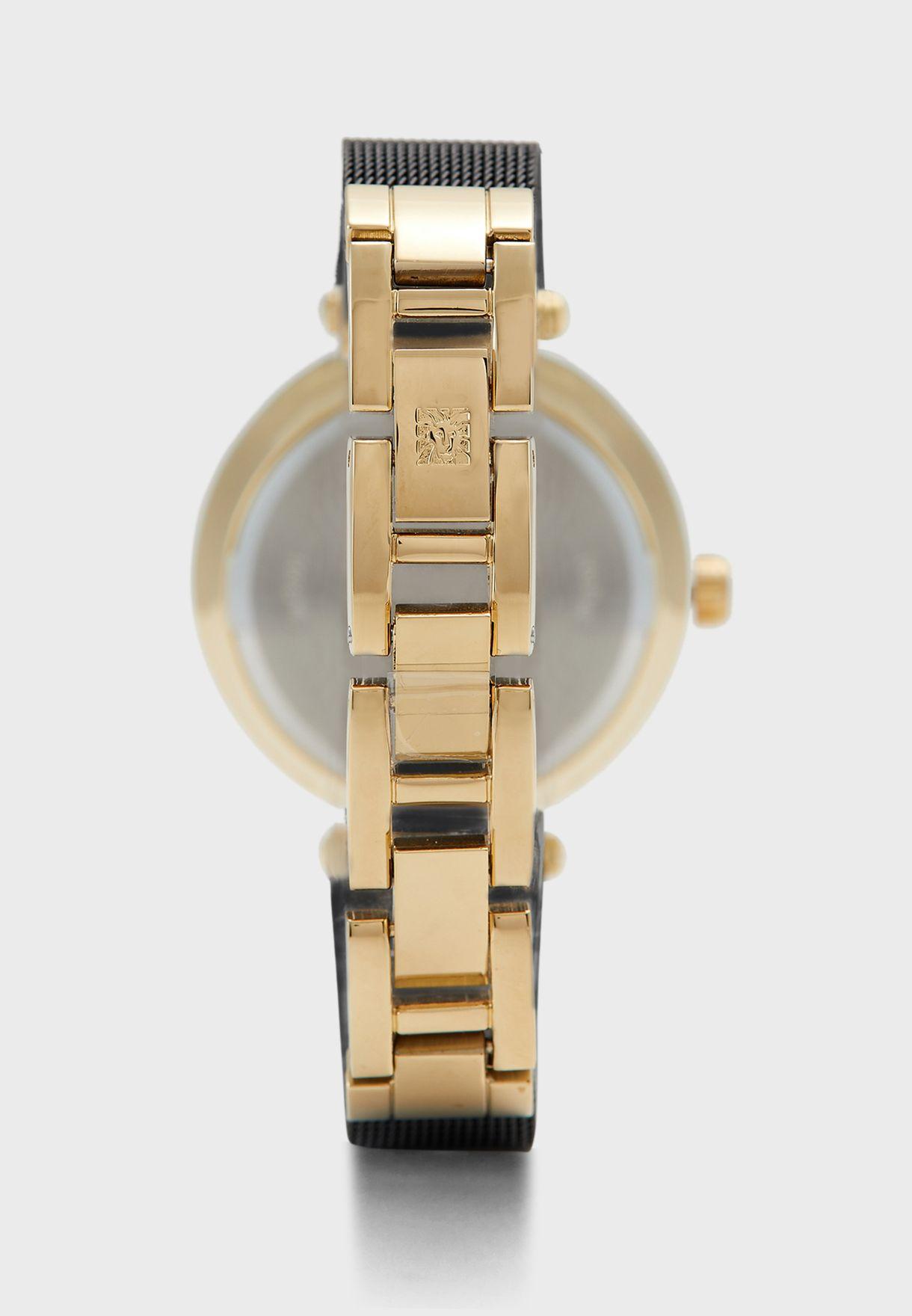 AK3001CHBK Leather Strap Analog Watch