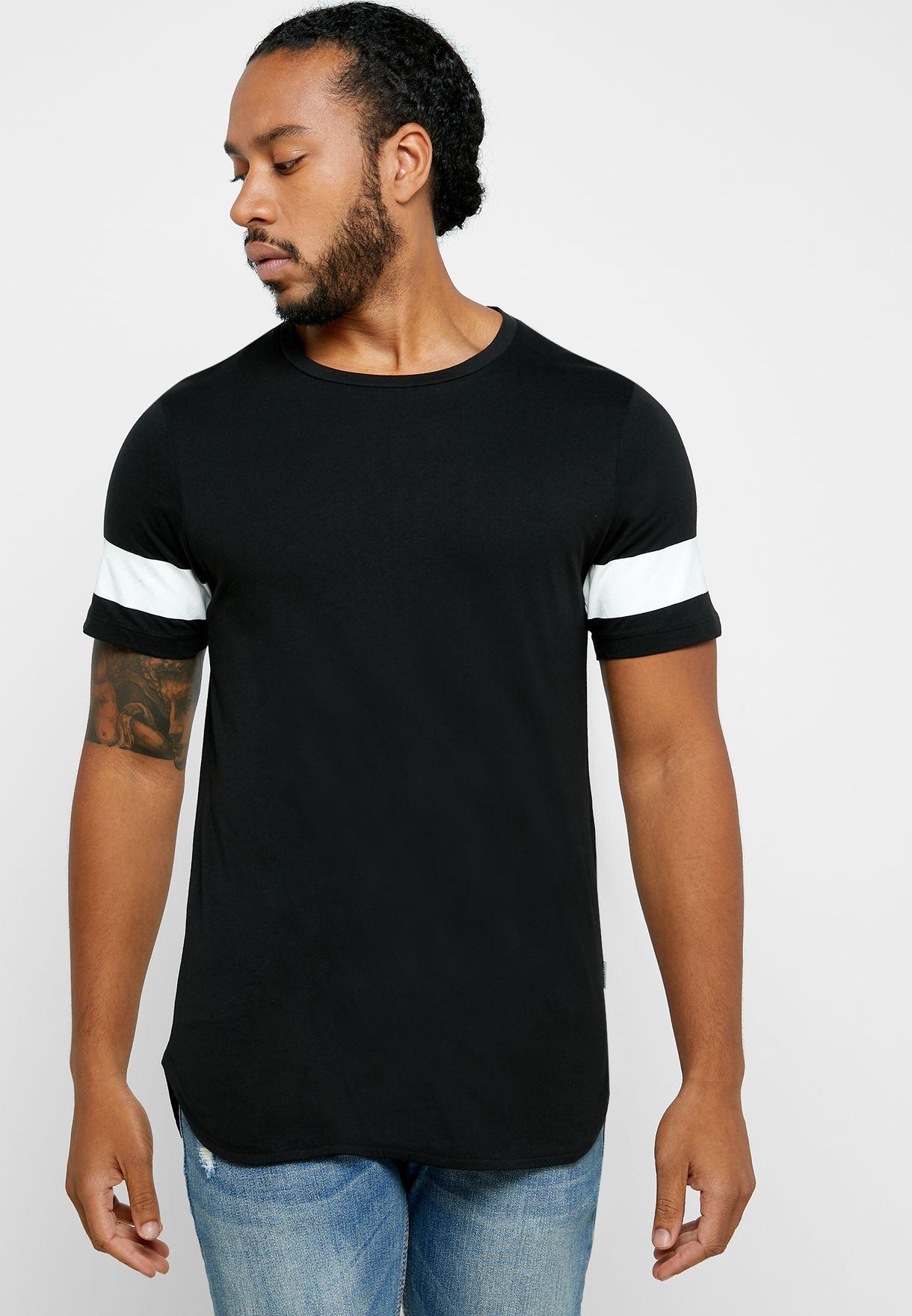 1d3086413778 Shop Jack Jones black Block Stripe Crew Neck T-Shirt 12159035 for ...