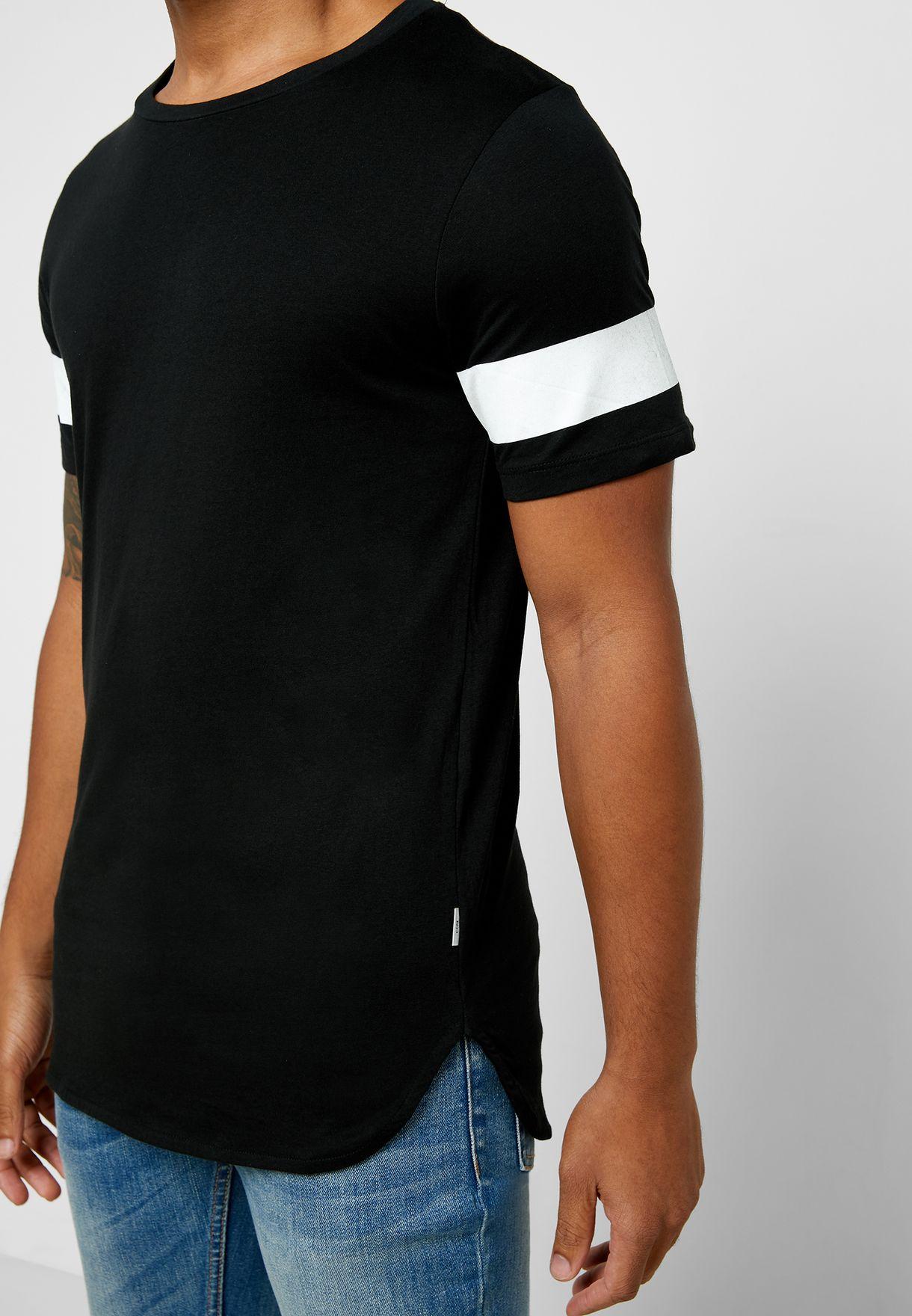 Block Stripe Crew Neck T-Shirt