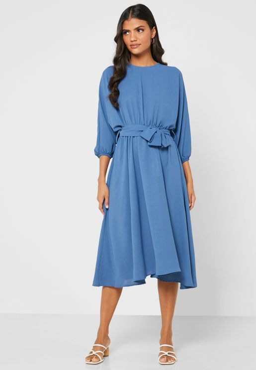 Puffed Sleeve Self Tie Midi Dress
