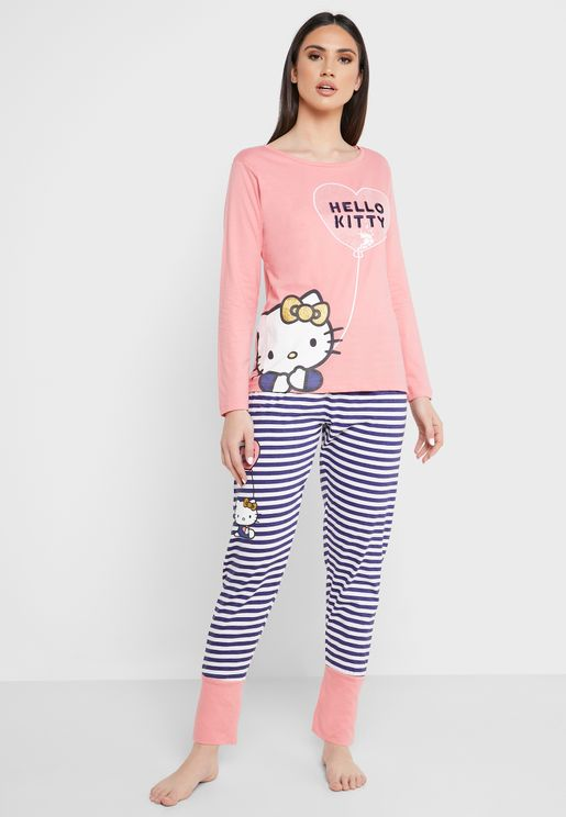 Hello Kitty Print T-Shirt & Pyjama Set