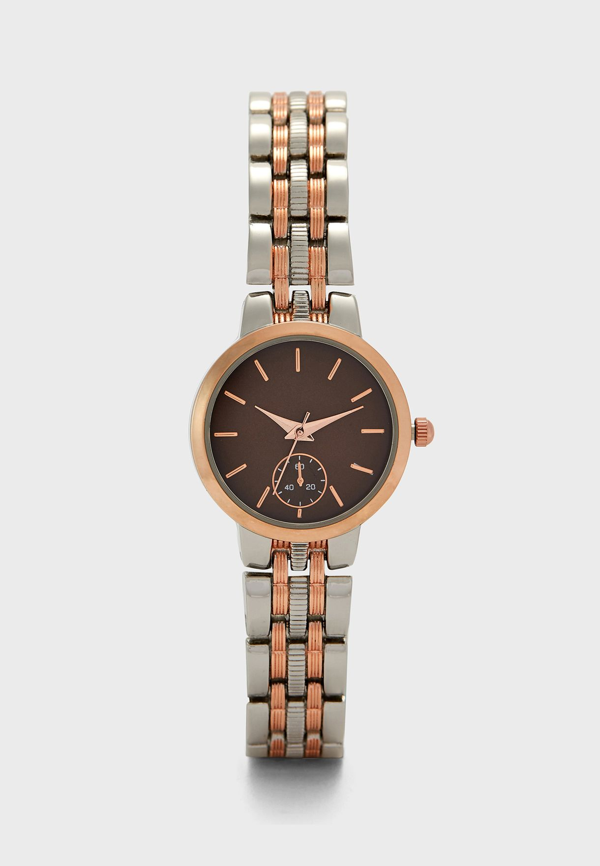 Two Tone Bracelet Watch with Subdial Detail