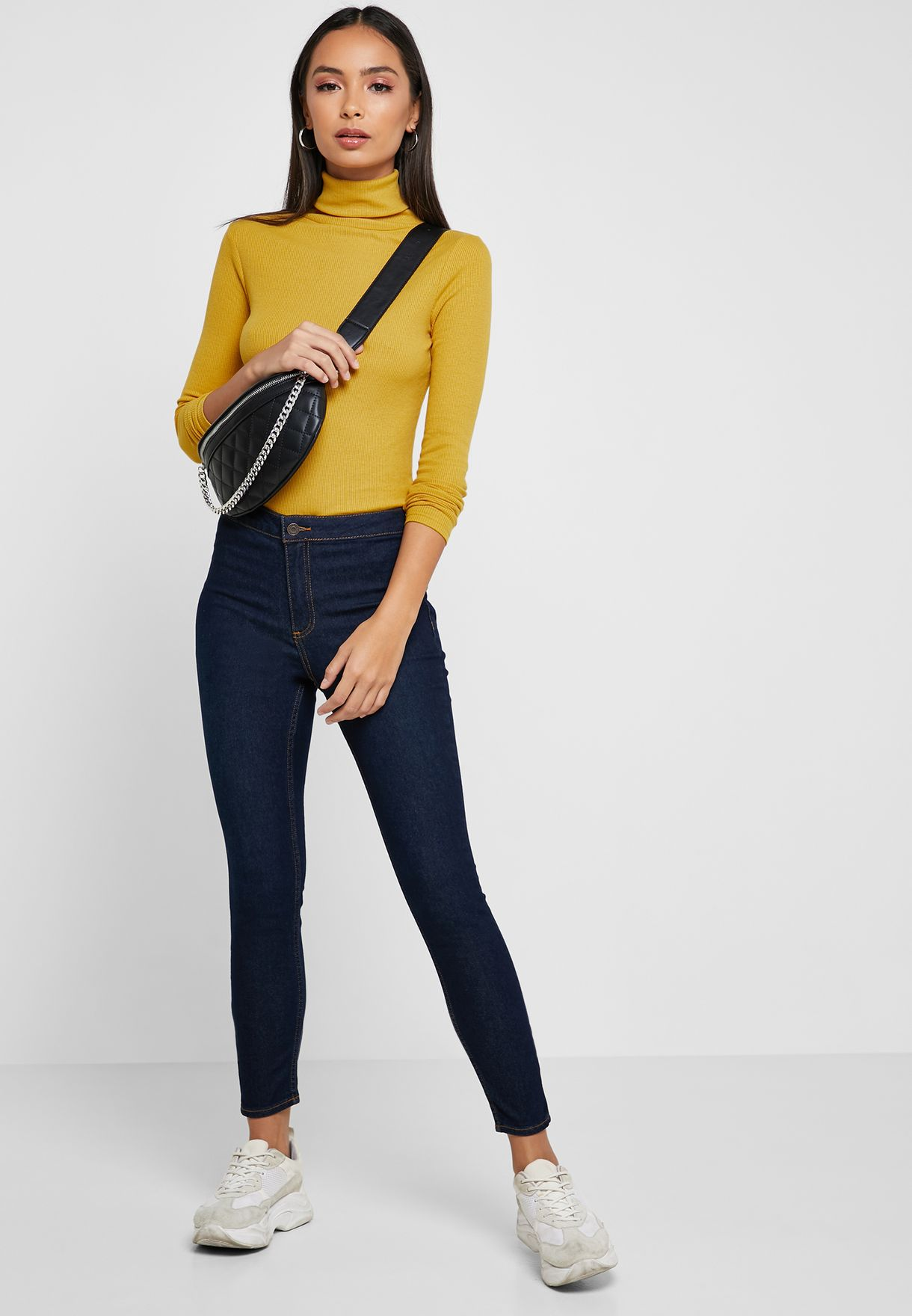 Roll Neck Ribbed Top