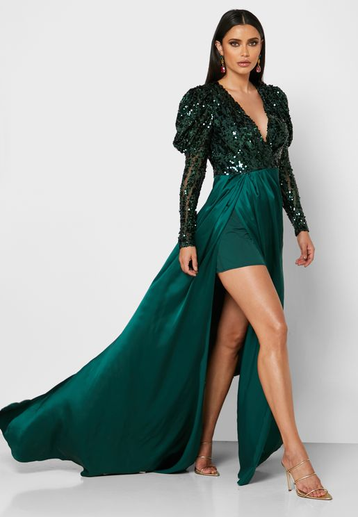 Yaz Sequin Detail Puff Sleeve  Dress