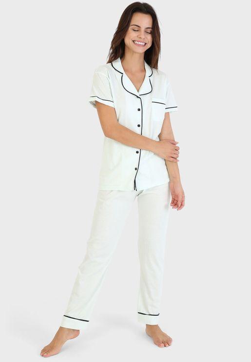 Button Down Shirt & Pyjama Set