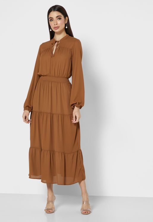 Tiered Hem Printed Dress