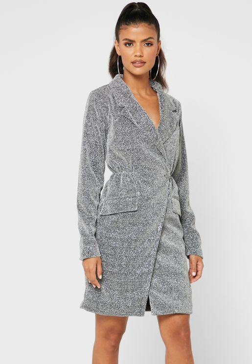 Glitter Wrap Front Blazer Dress