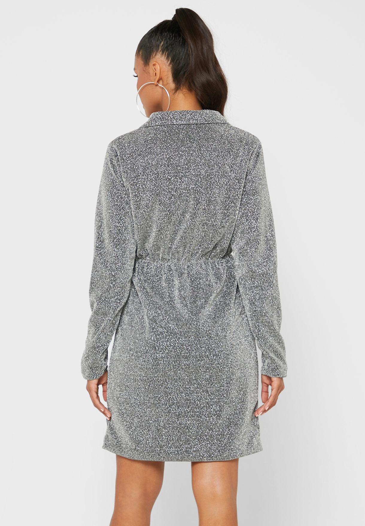 Glitter Wrap Front Blazer Dress