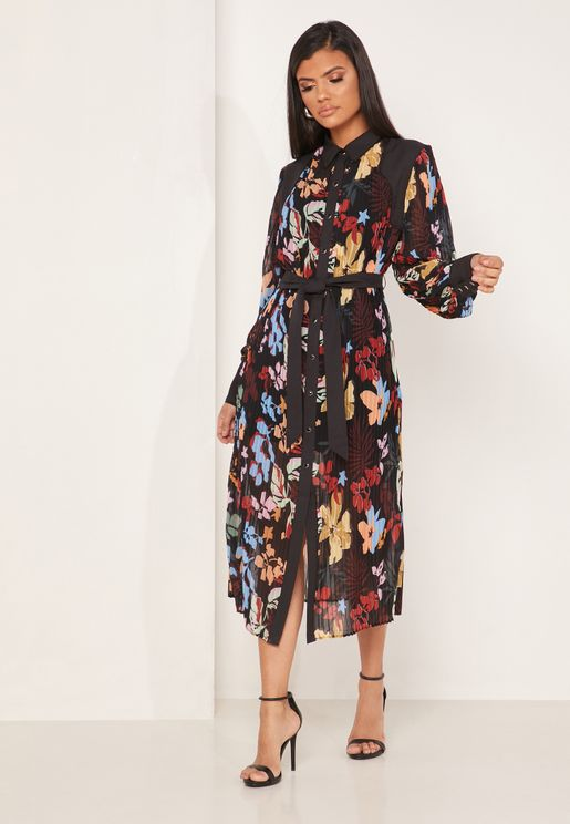 Tie Waist Floral Print Shirt Dress