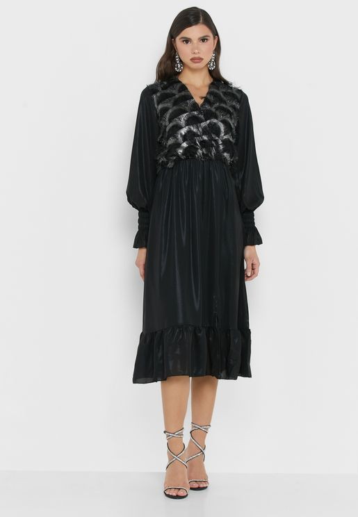 Feathered Wrap Front Midi Dress