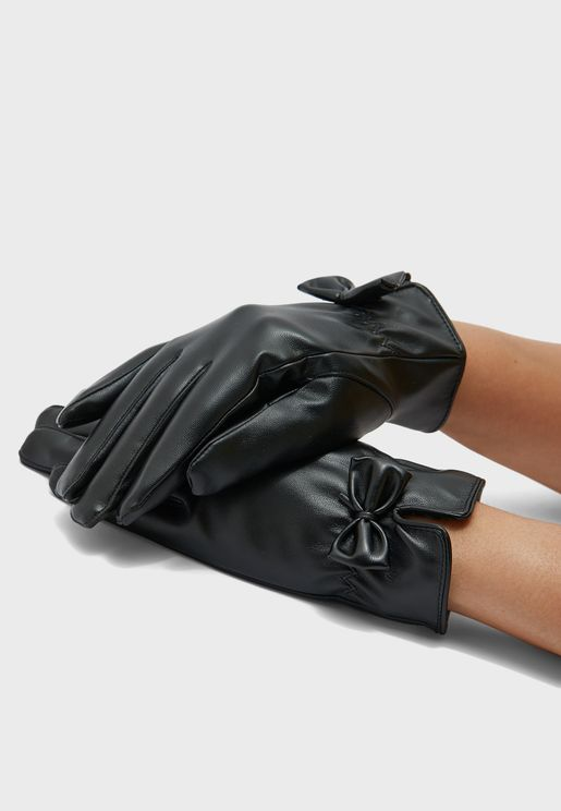 Bow Detail Pu Gloves