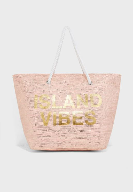 Large Rope Slogan Beach Bag
