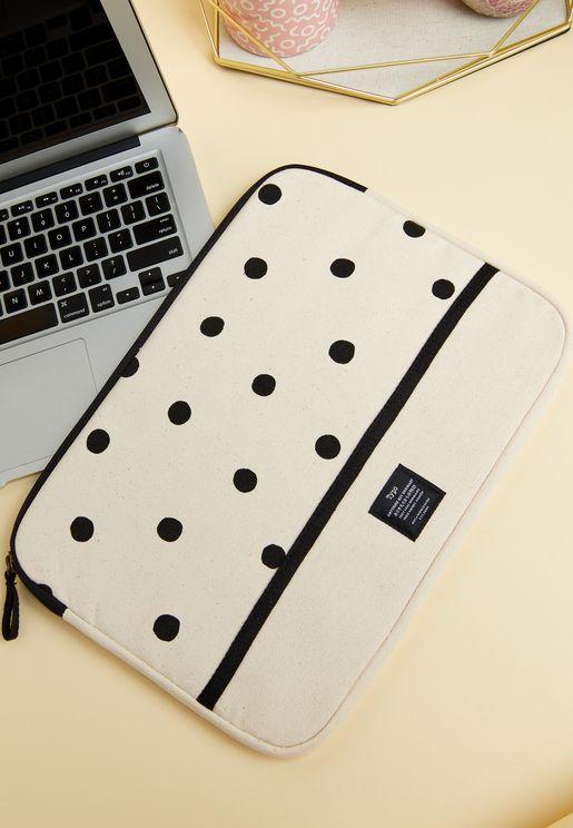 "13"" Polka Dot Canvas Laptop Case"
