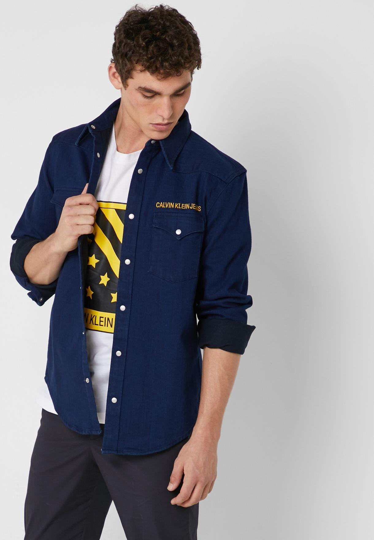 caf416c9 Shop Calvin Klein Jeans blue Foundation Western Shirt J30J311739 for ...