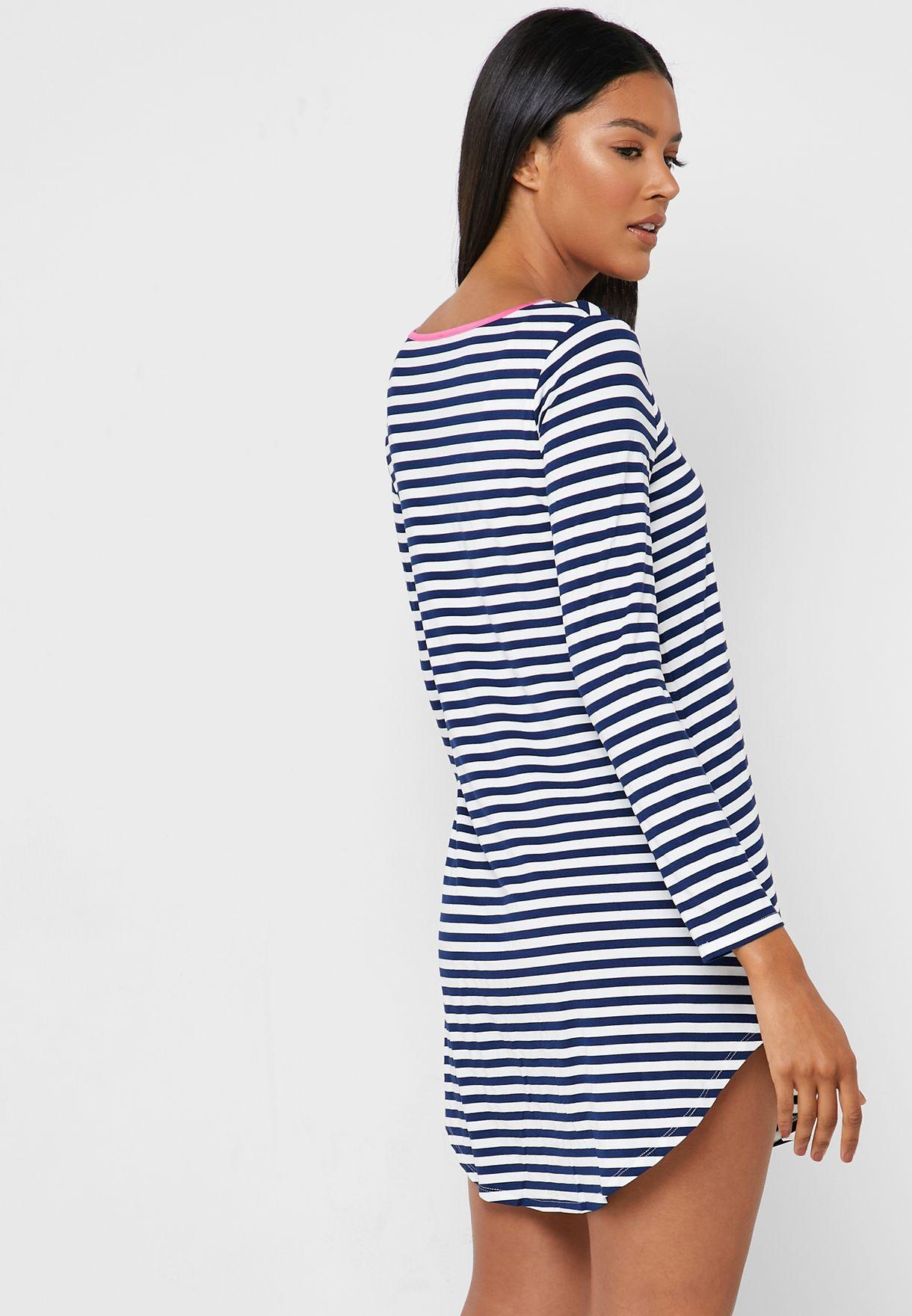 Pocket Detail Striped Nightdress