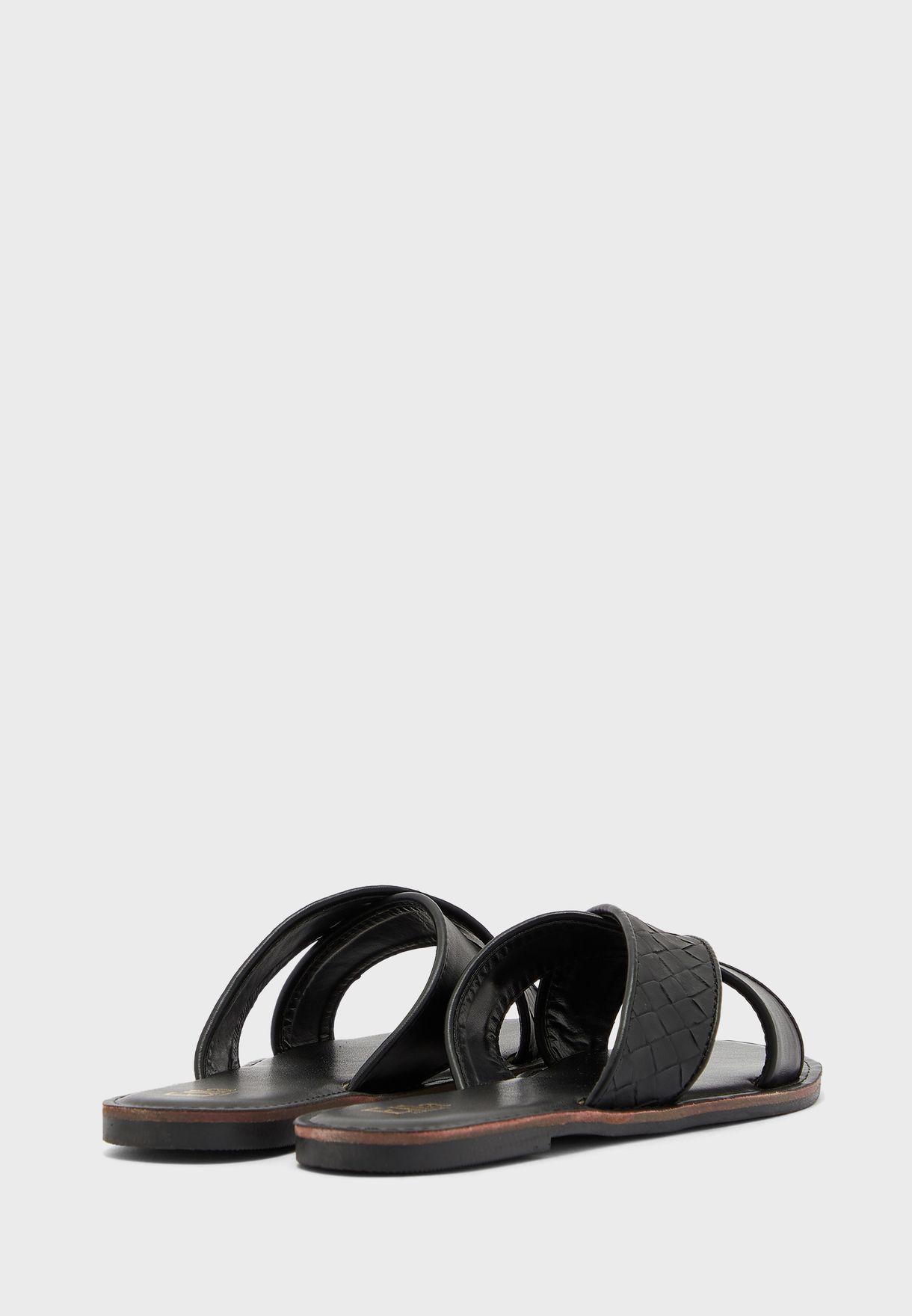 Weaved Cross Over Strap Flat Sandal