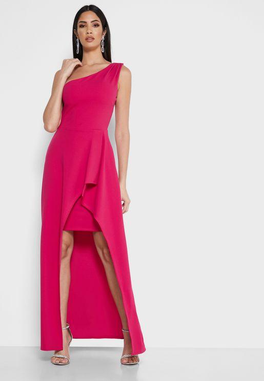 فستان بكتف واحدوبحافة متباينة الطول