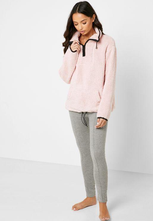 Pocket Detail Fleece Sweatshirt & Leggings Set