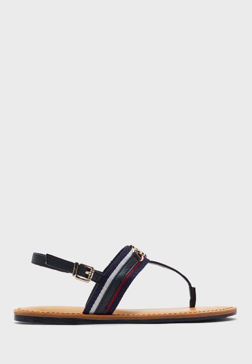 Shimmery Ribbon Flat Sandal
