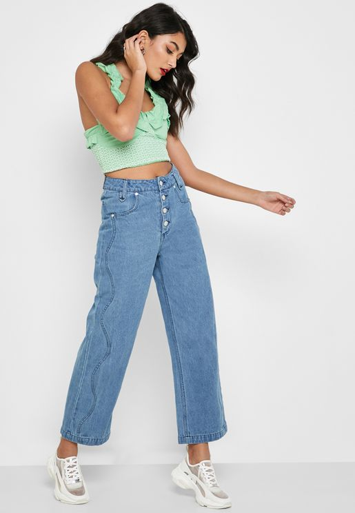 Wave Panel Straight Jeans
