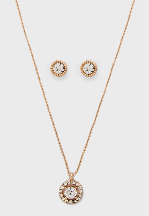 Rhinestone Necklace+Stud Earrings Set