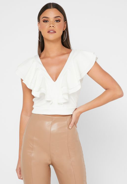 V-Neck Frill Crop Top