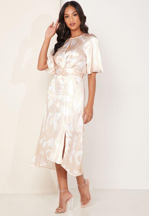 فستان ساتان مطبع