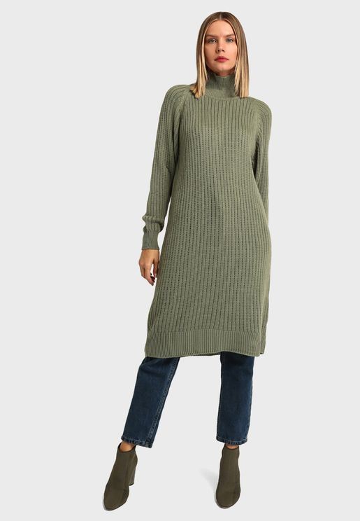 High Neck Knitted Tunic Top