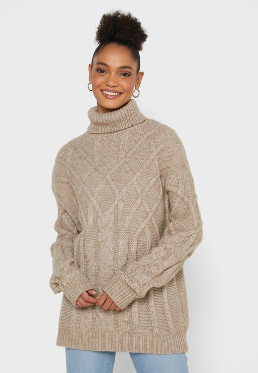 Cable Knit Braid High Neck Sweater