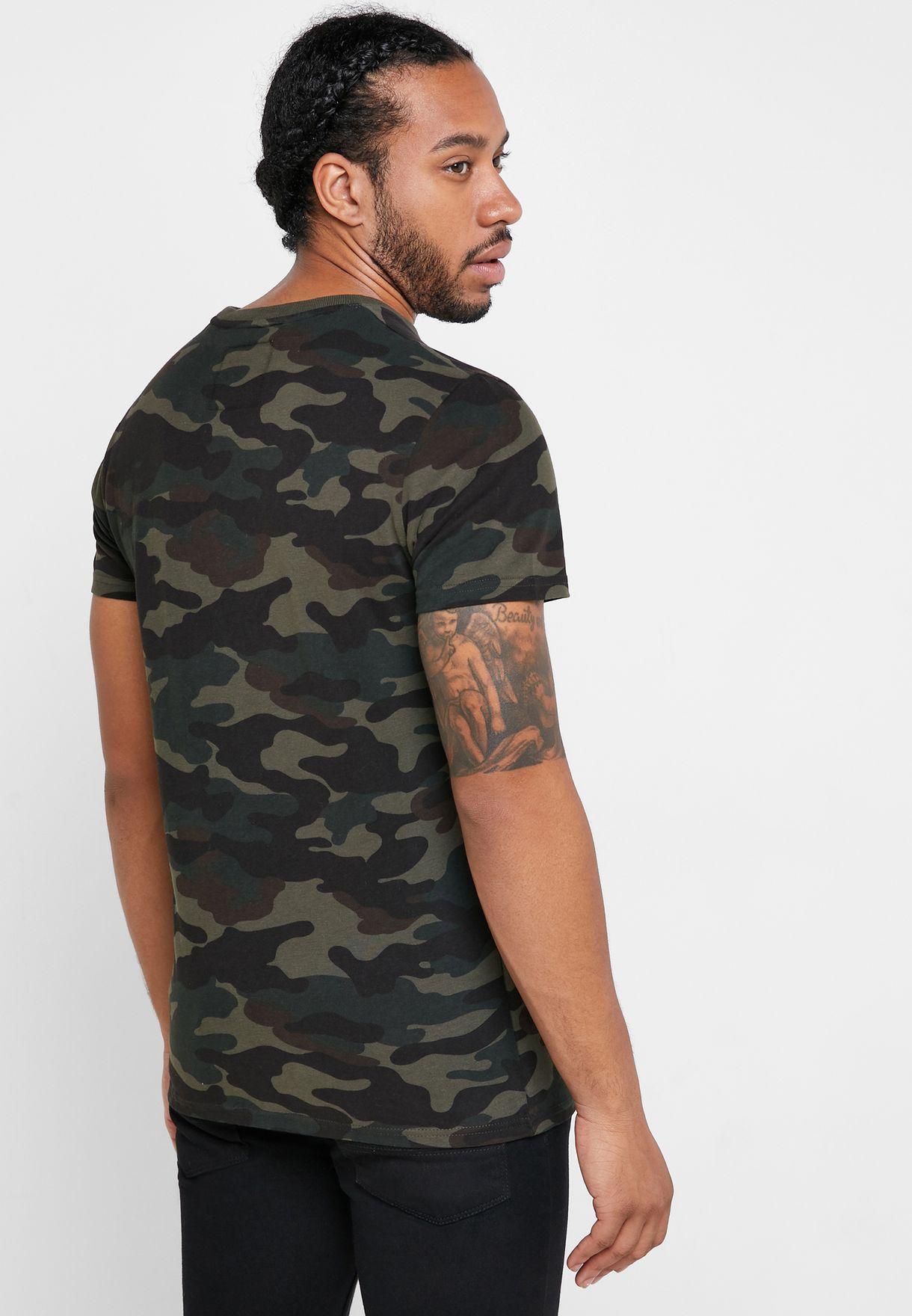 Camo Print Crew Neck T-Shirt