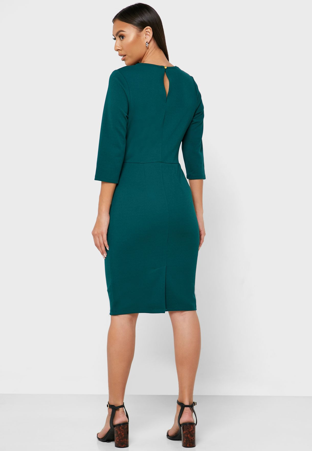 Front Keyhole Pleated Neck Bodycon Dress