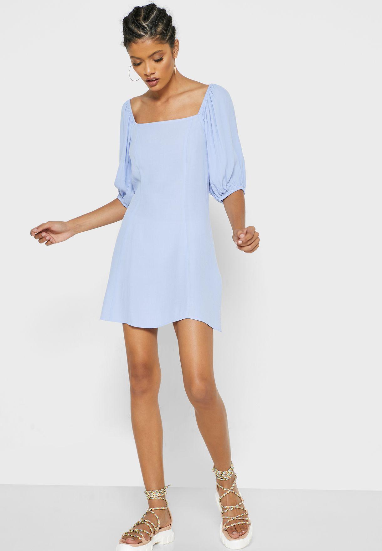 Square Neck Puff Sleeve Dress