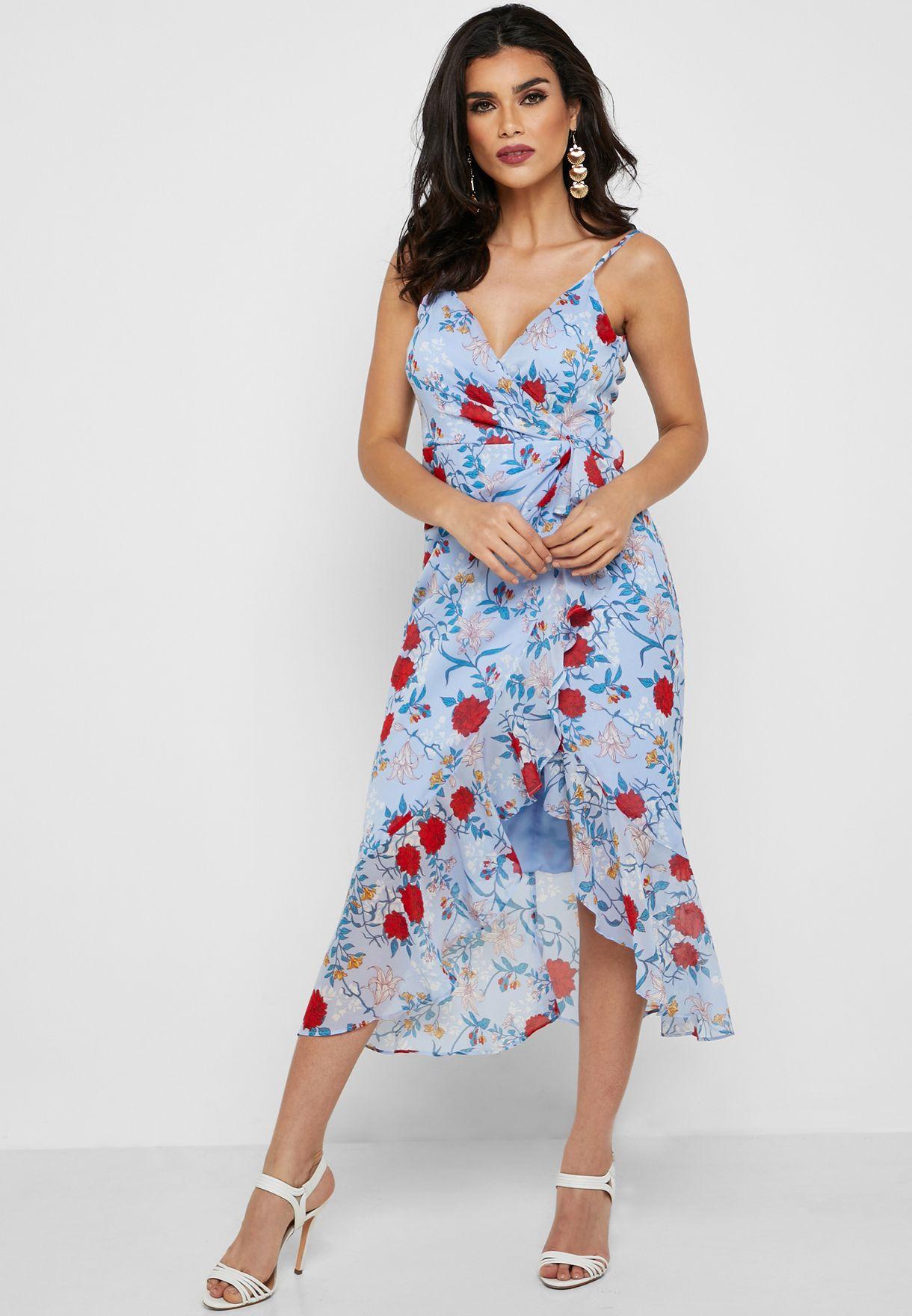 فستان ميدي بطبعات ازهار وحمالات كتف