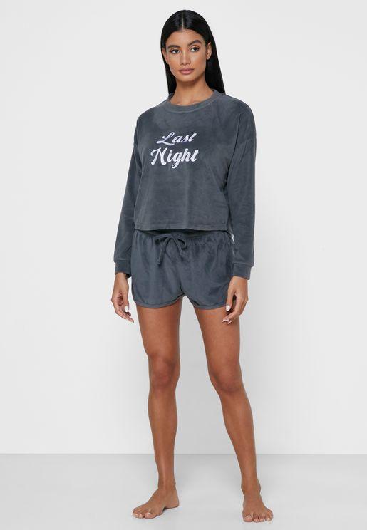 Last Night Velour T-Shirt & Shorts Set