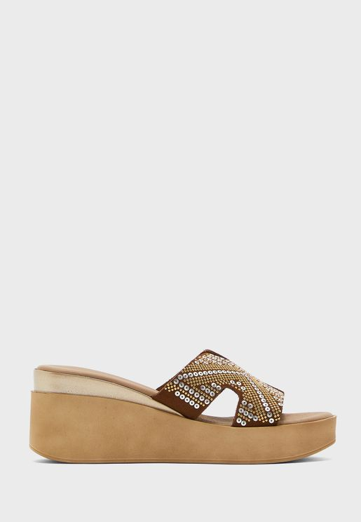 T-Bar Mid Heel Wedge Sandals