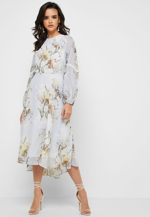4d7c5f1df99a Floral Ruffle Back Midi Dress with Crochet Detail