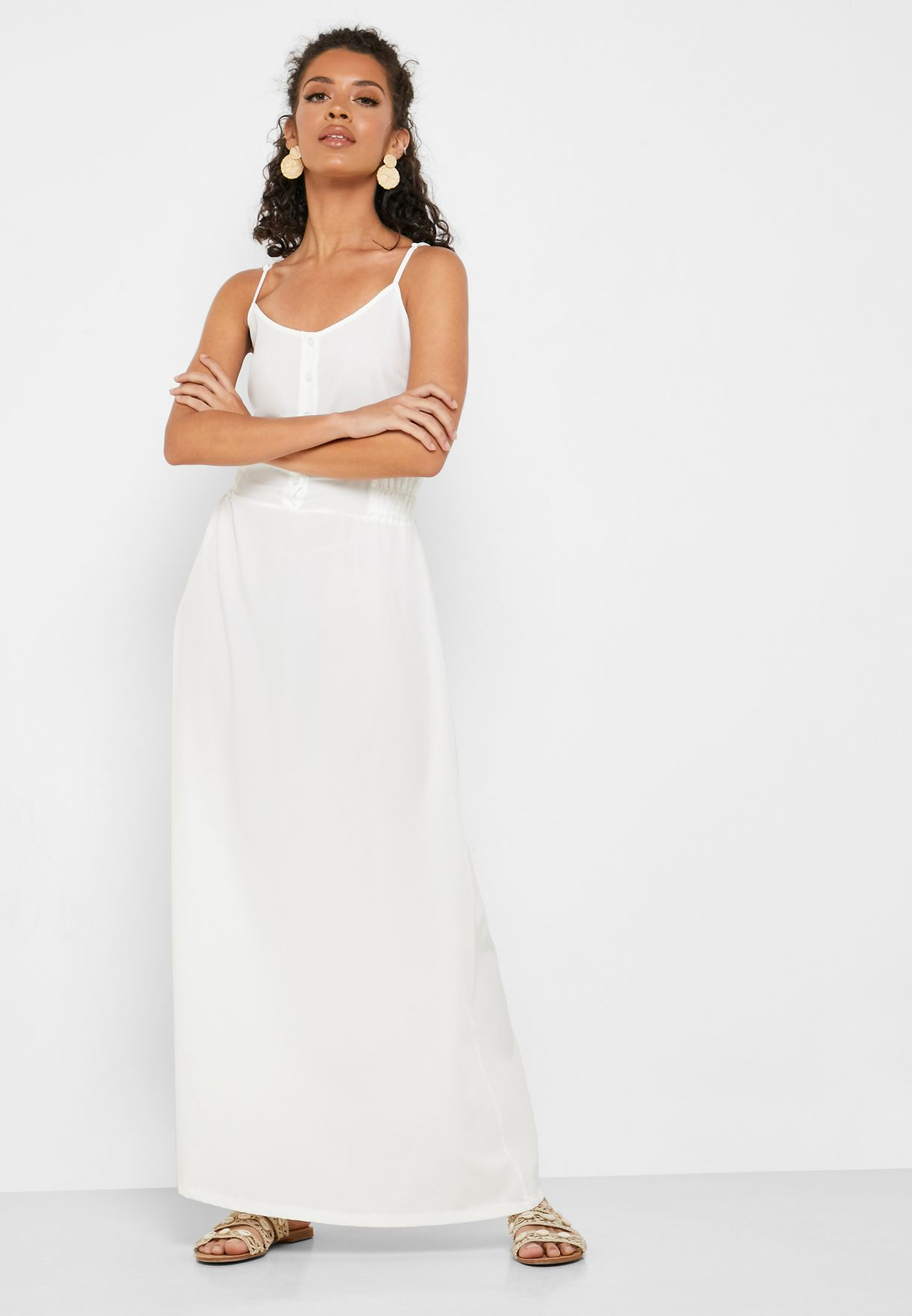 Shirred Side Button Front Maxi Dress