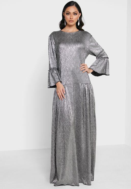 Flute Sleeve Shimmer Dress