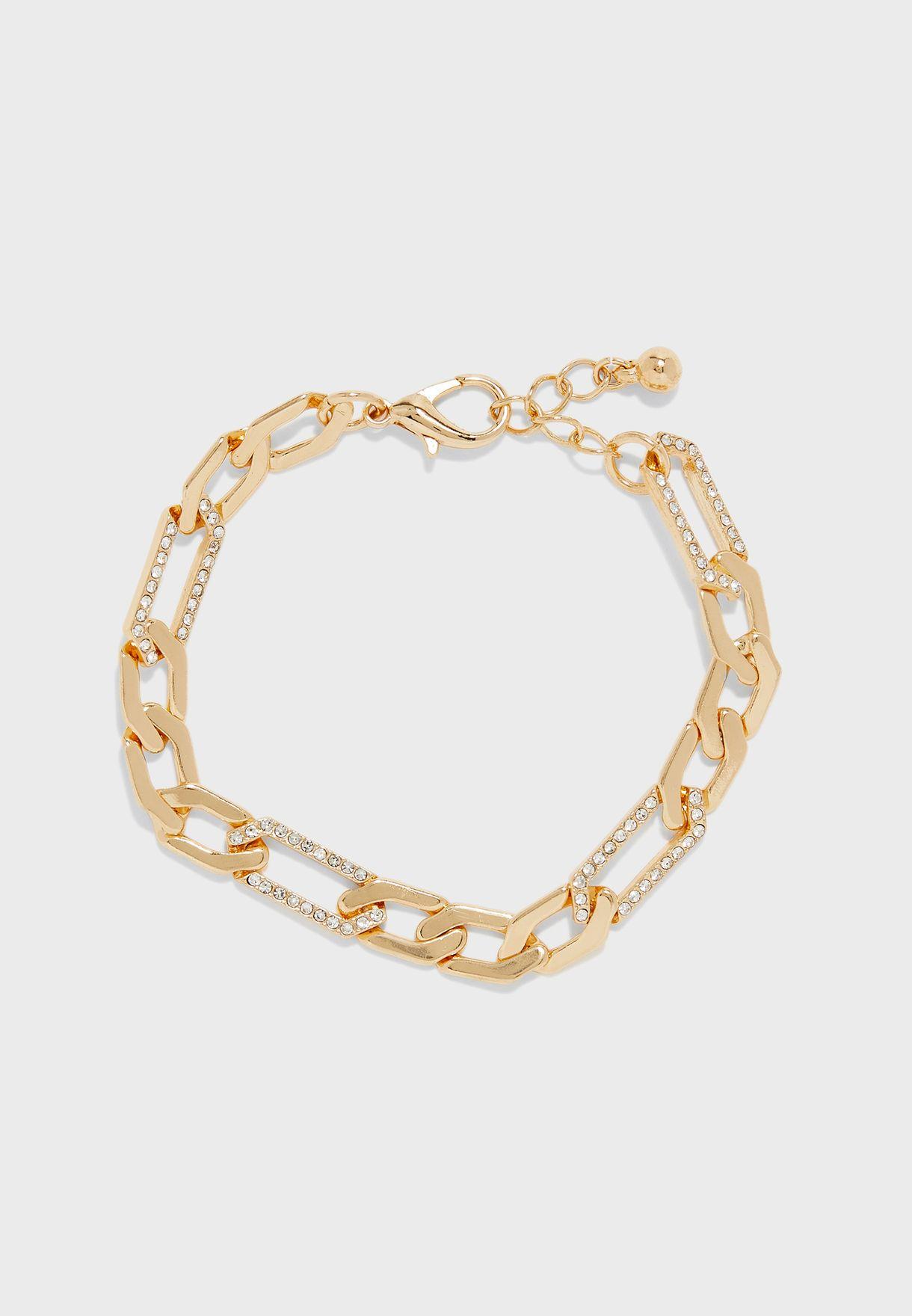 Large Link Bracelet With Diamante Detail