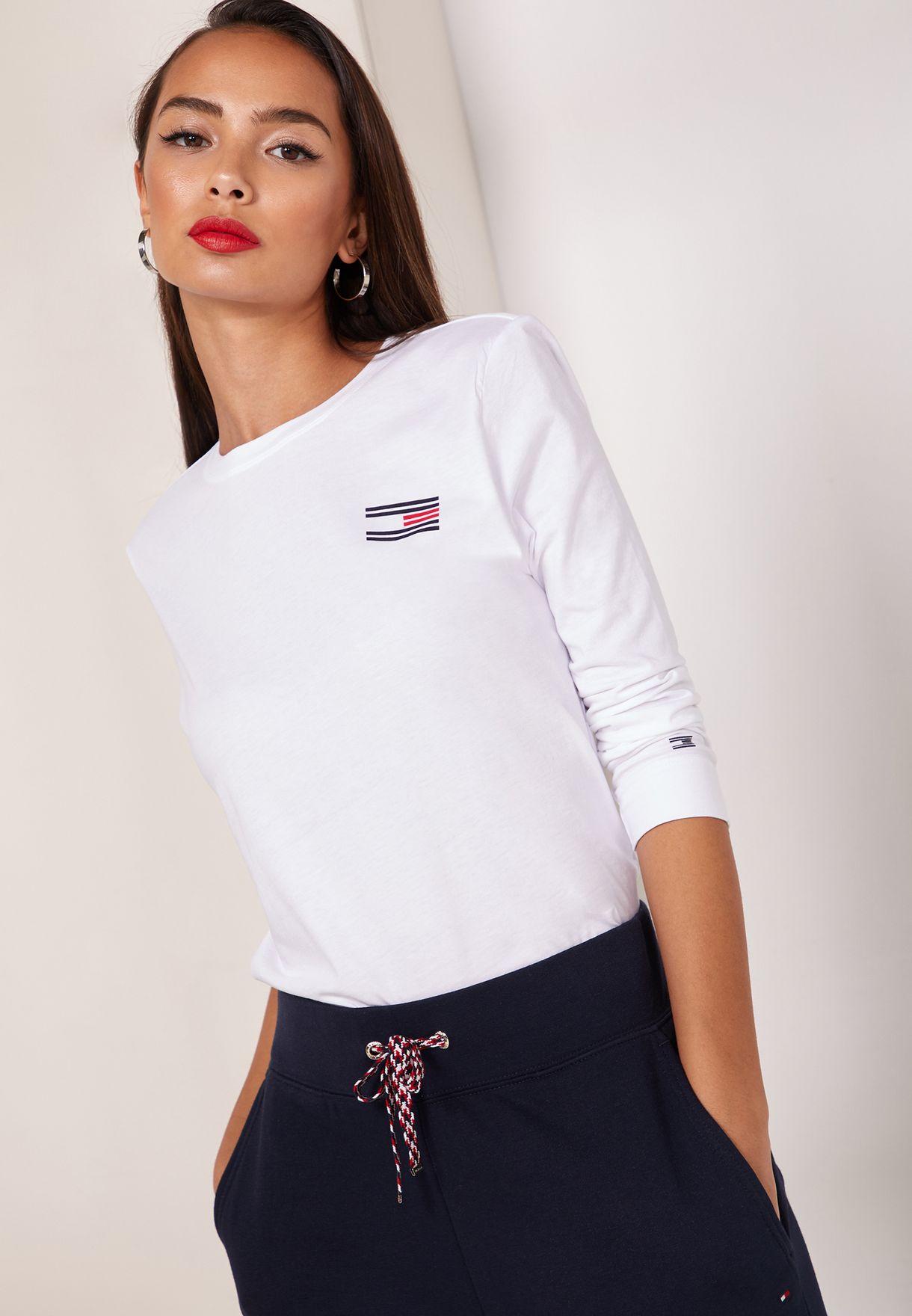 f1ca5b17 Shop Tommy Hilfiger white Talita Logo 3/4 Sleeve T-Shirt WW0WW24506 ...