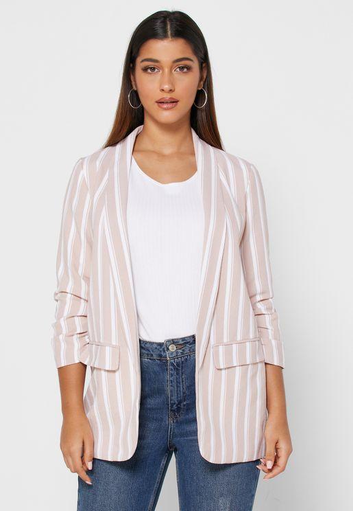 Longline Striped Coat