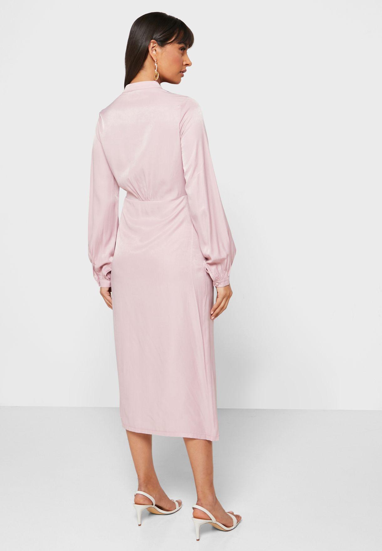 Puffed Sleeve Button Down Midi Dress