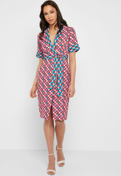 Printed Tie Waist Dress
