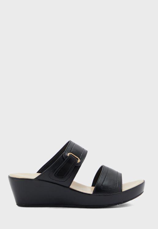Buckle Detail Wedge Sandal