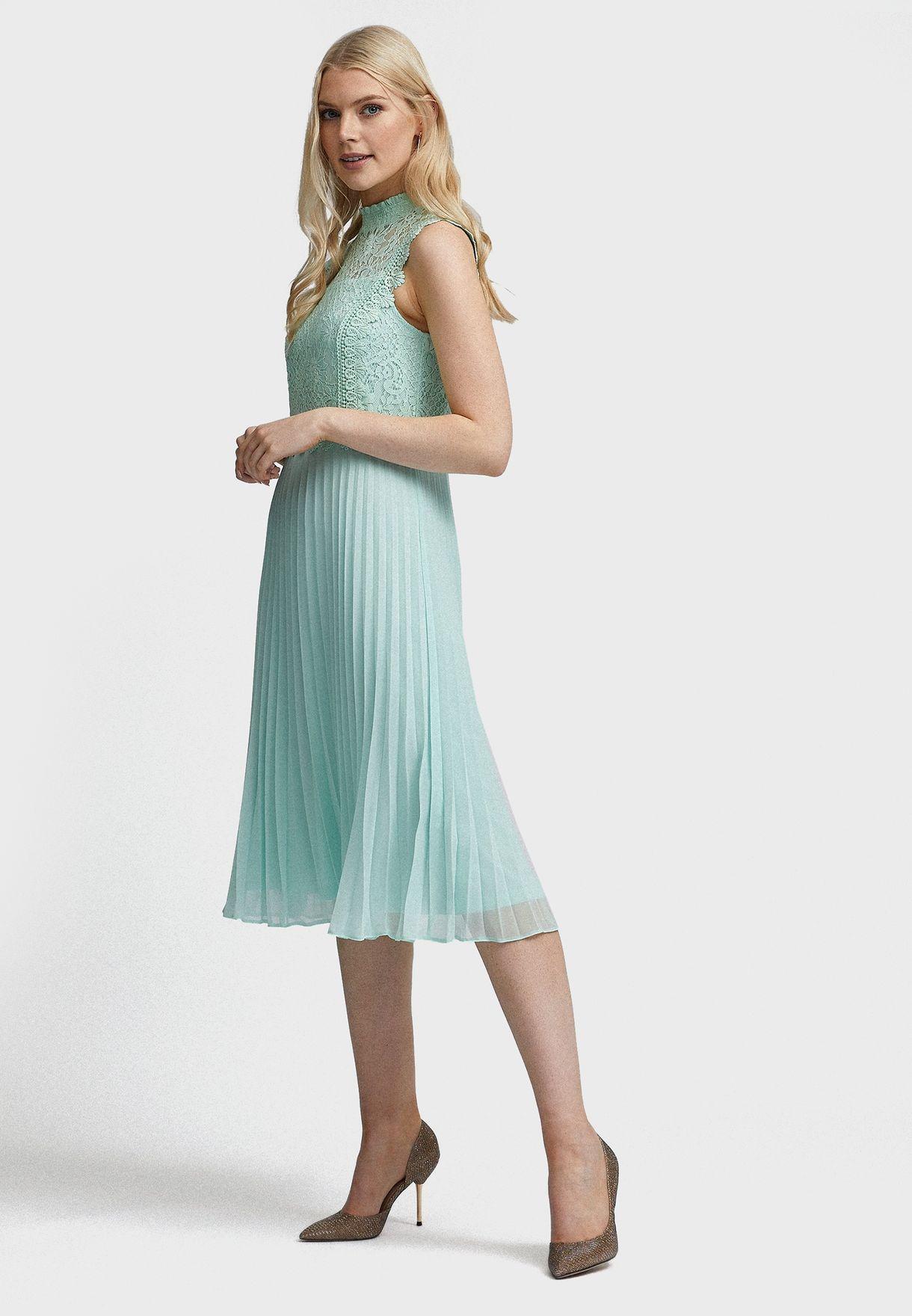 Lace High Neck Plisse Dress